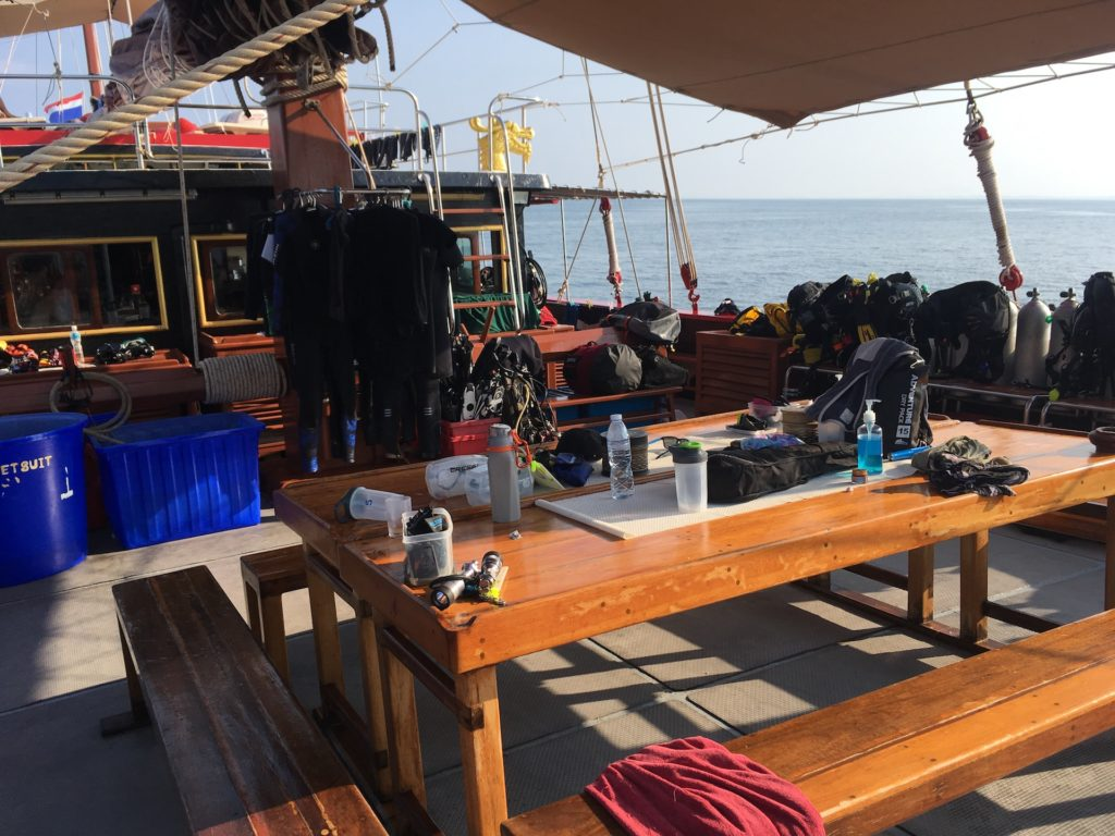 outdoor hangout area on the Junk