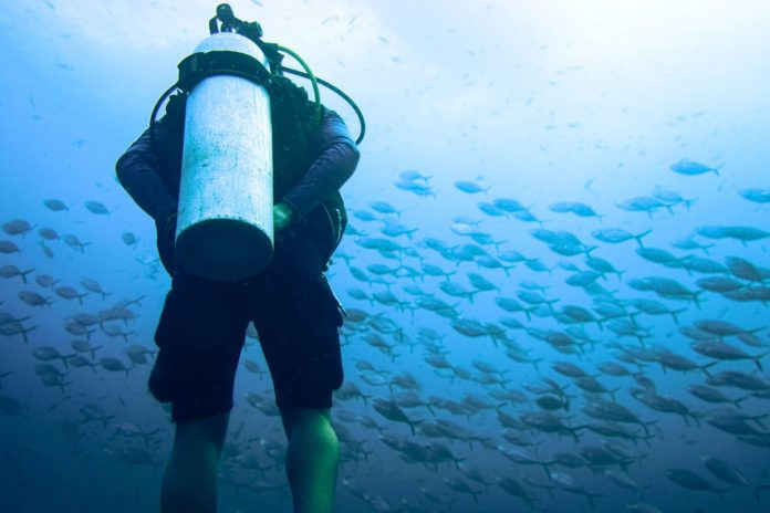 A scuba diver contemplating the differences between a scuba diving vs open water certification