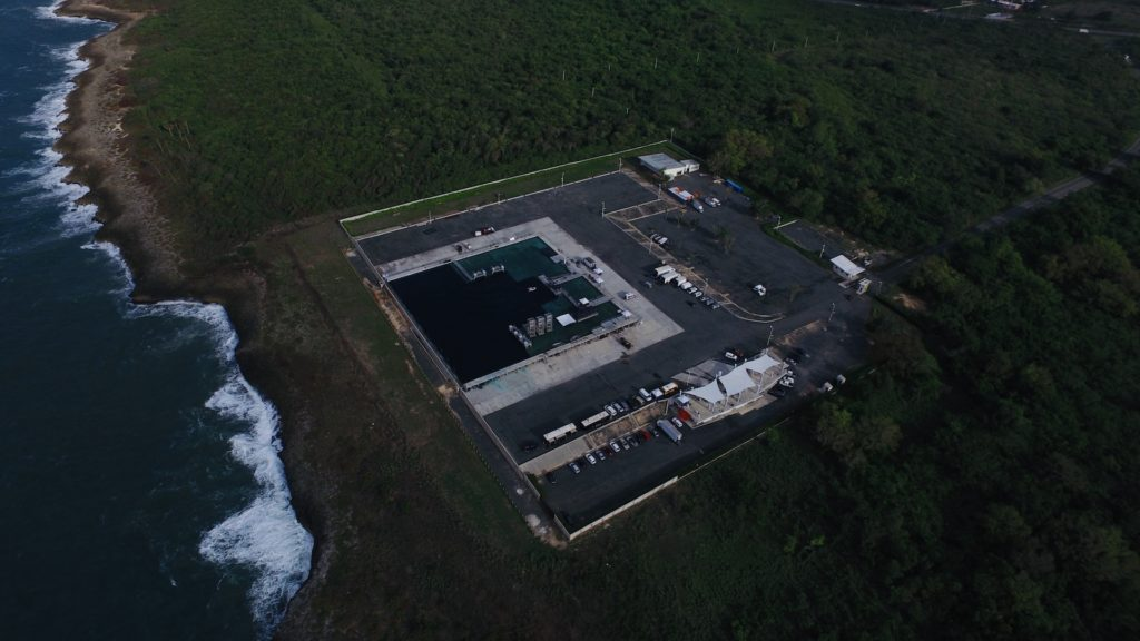 Aerial shot of the water tank in DR