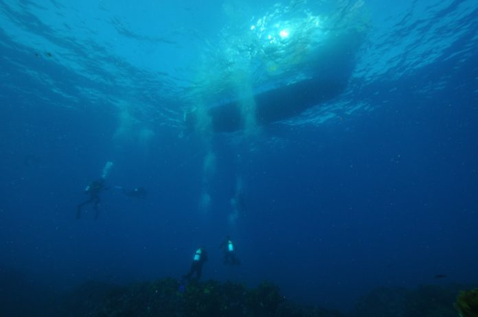 Scuba divers diving under a boat. What is a no decompression limit in scuba diving?