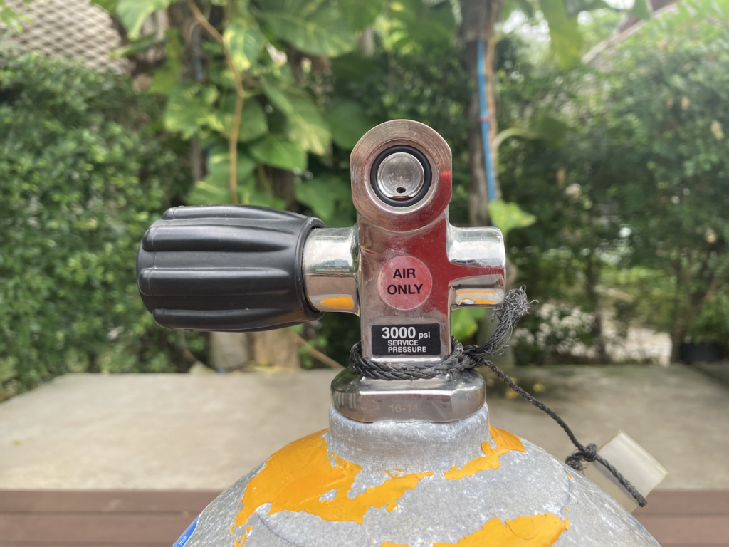 Yoke valve on a scuba cylinder tank