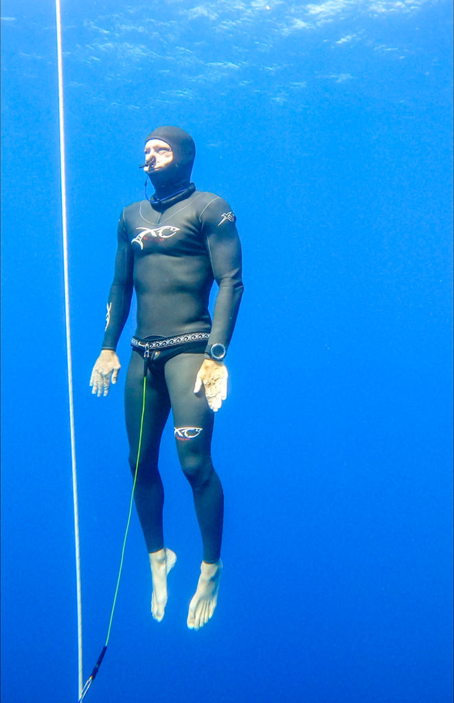 Tom Peled ascending from a freedive.